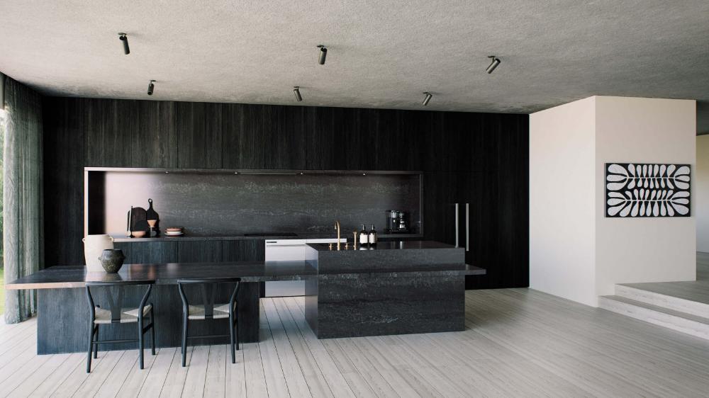 Caesarstone Black Temple Google Search In 2020 Black Quartz Countertops Countertop Design Quartz Countertops