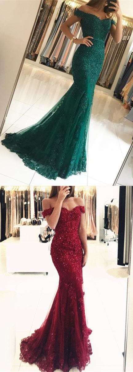 e439665d665 Elegant Pearl Beaded Lace Mermaid Evening Dresses Off The Shoulder Prom  Gowns 2018 P1878