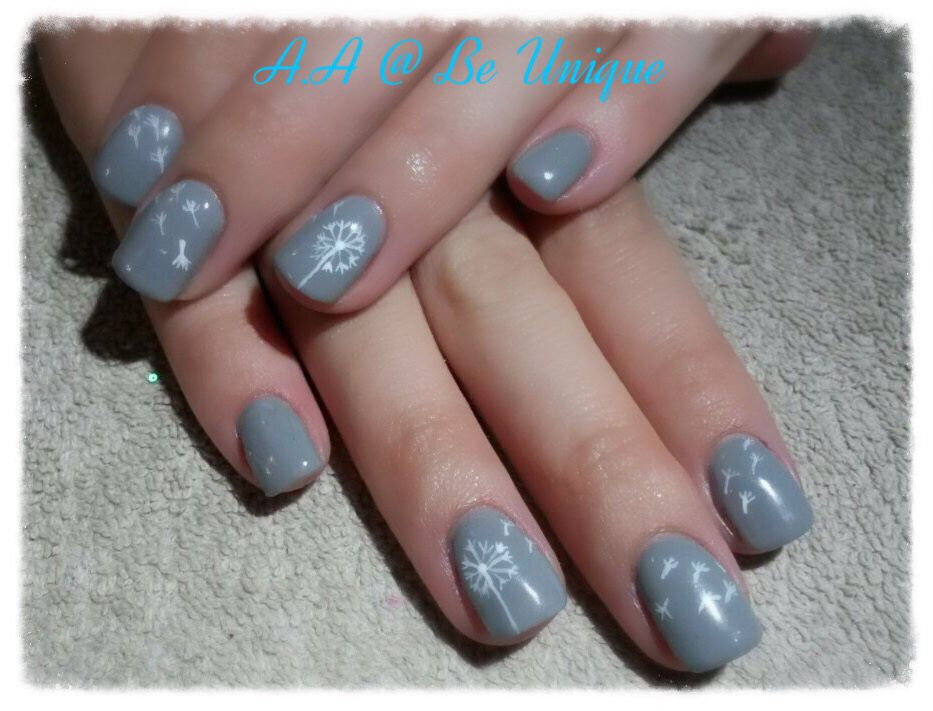Nails done by Angelique Allegria. #grey #dandelion #white #makeAwish #nailart #BeUnique @angiedsa