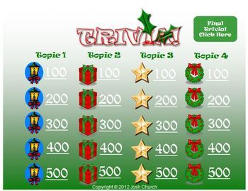 Trivia Christmas Template  JeopardyLike Review Game  Trivia