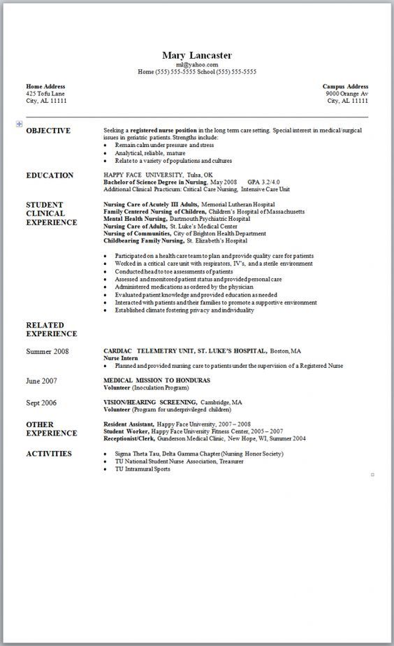 Sample Nursing Resume - New Graduate Nurse resume Pinterest - nurse resume objective