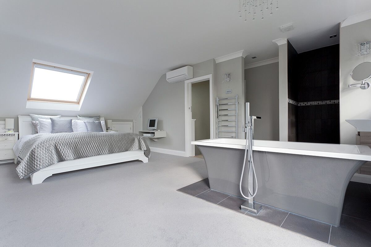 outstanding open loft bedroom designs | Hip-to-gable dormer conversion with freestanding bathtub ...