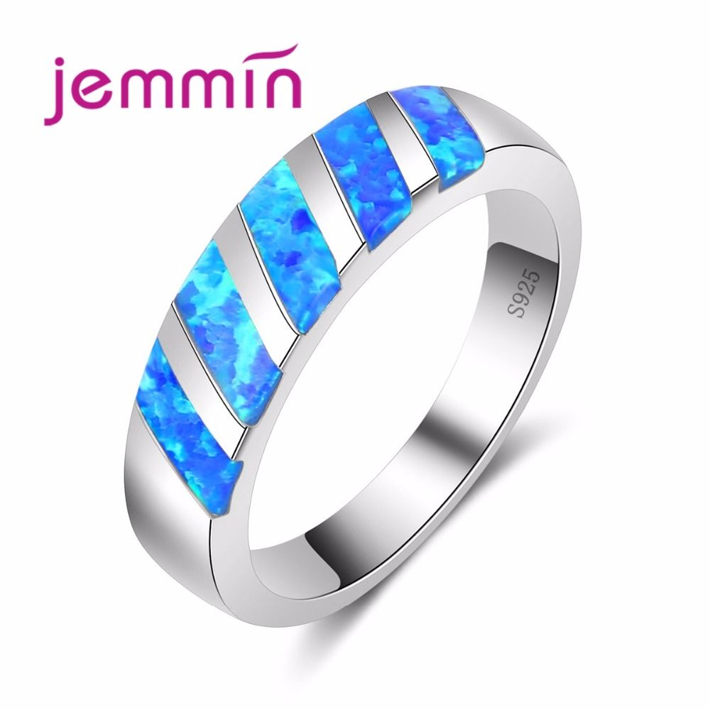 Jemmin new classic dark blue oval cz ring wedding bridal jewelry for