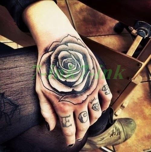Hand Painted Cool Fake Tattoo Tattoo Rose Hand Tattoo