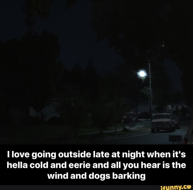 I Love Going Outside Late At Night When It S Hella Cold And Eerie And All You