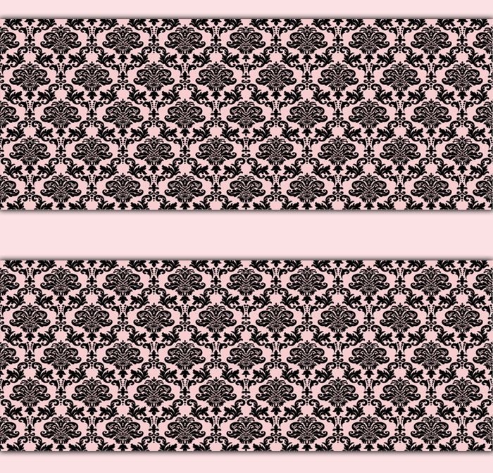 Damask Wallpaper Border Pink Black Wall Art Decals Girl Nursery Stickers Decor Decampstudios FrenchCountry