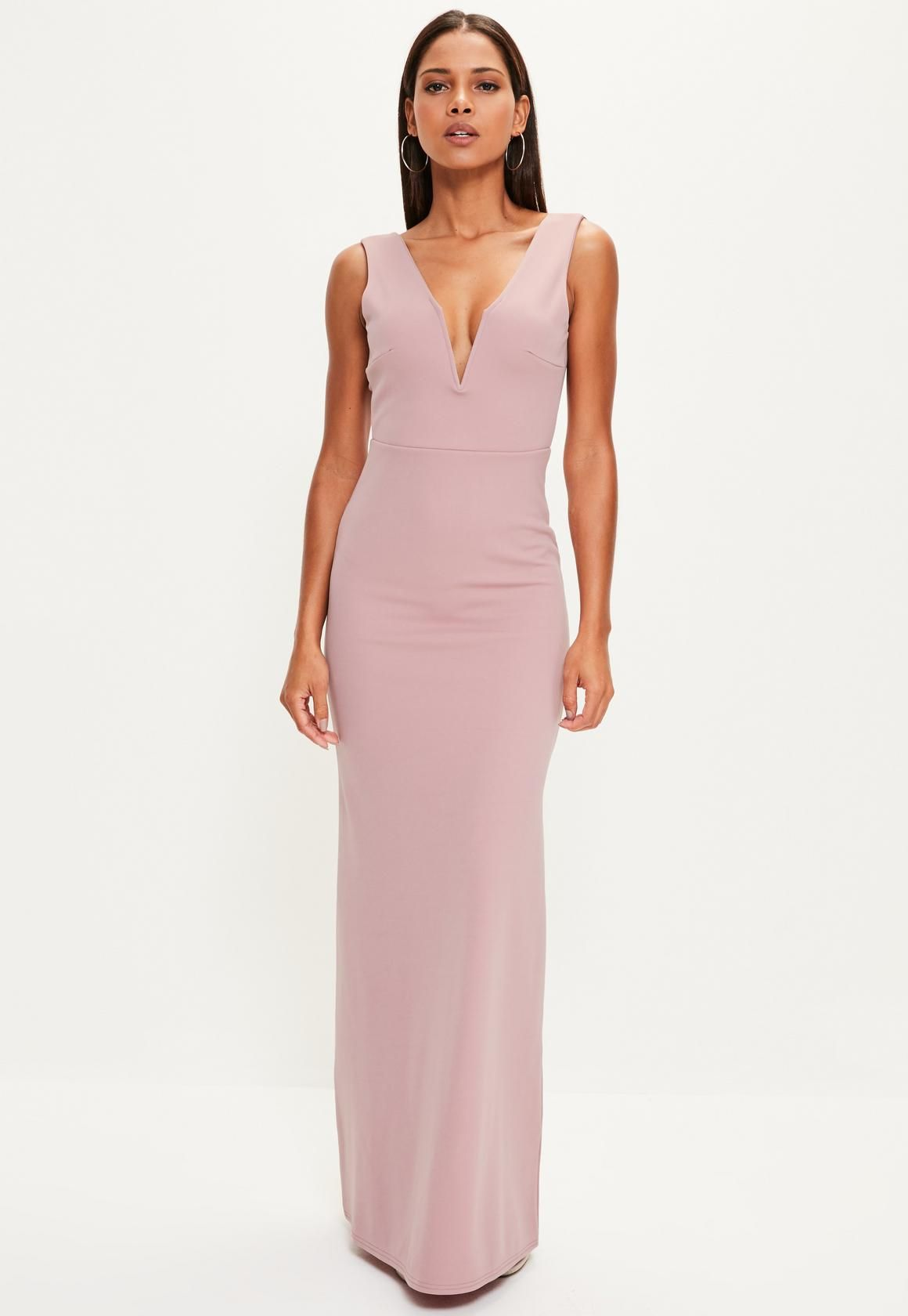Missguided - Pink V Plunge Maxi Dress  5ace175cd