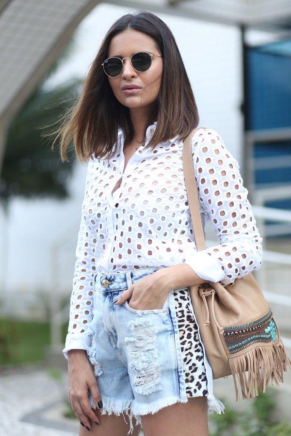 d8250b78f Shorts Jeans com detalhes em onça + Camisa de Laise | Looks Maison ...