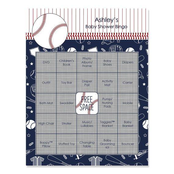 Batter Up Baseball Baby Shower Bingo 16 Unique Gift Bingo Game