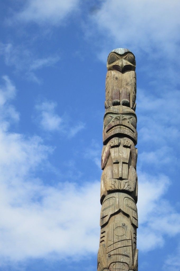 On top of this pole, an eagle sits on top of a brown bear. The eagle represents a main clan of the Tlingit tribe. The brown bear, which symb...