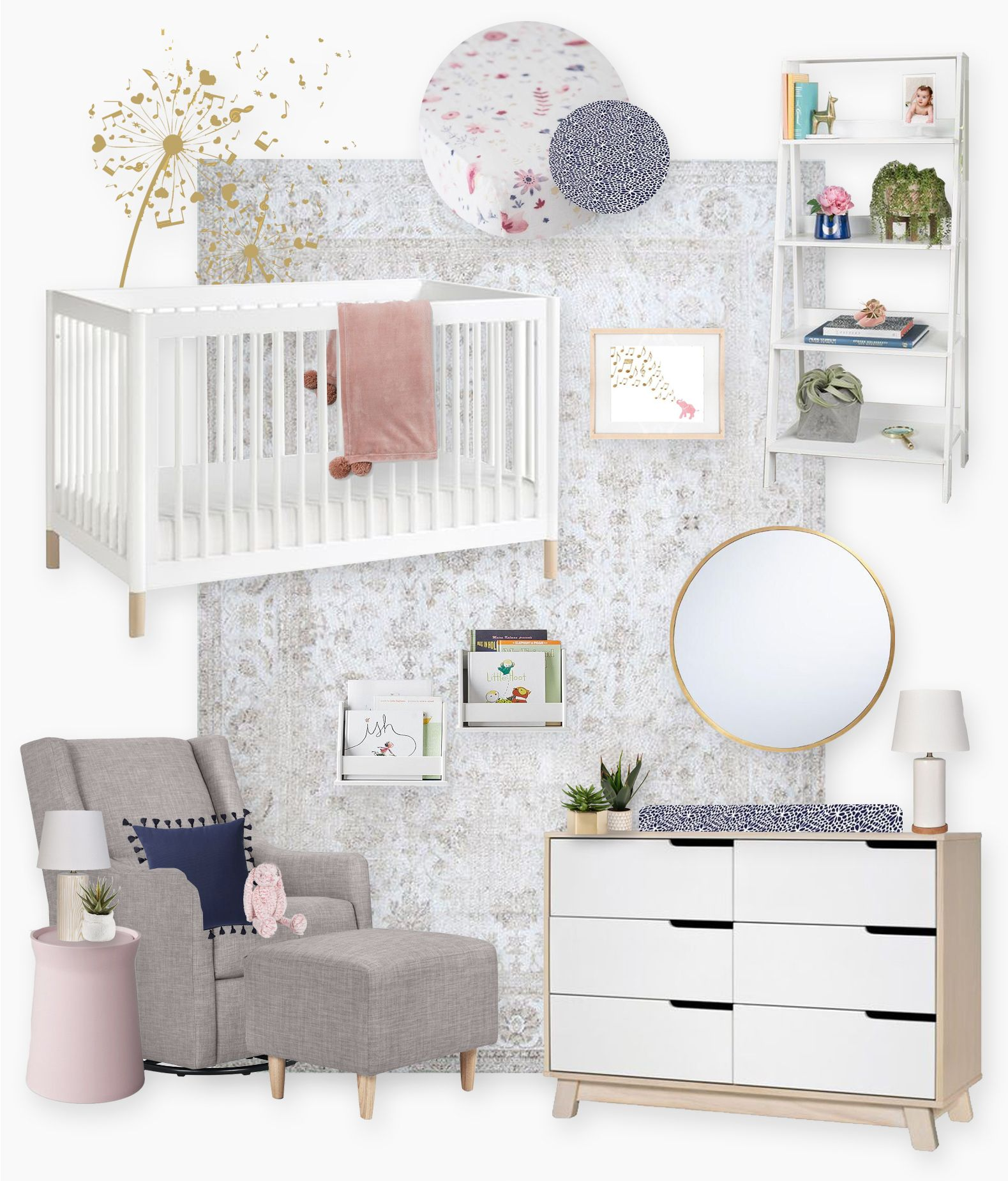 Modern Pastel Nursery E Design By Little Crown Interiors