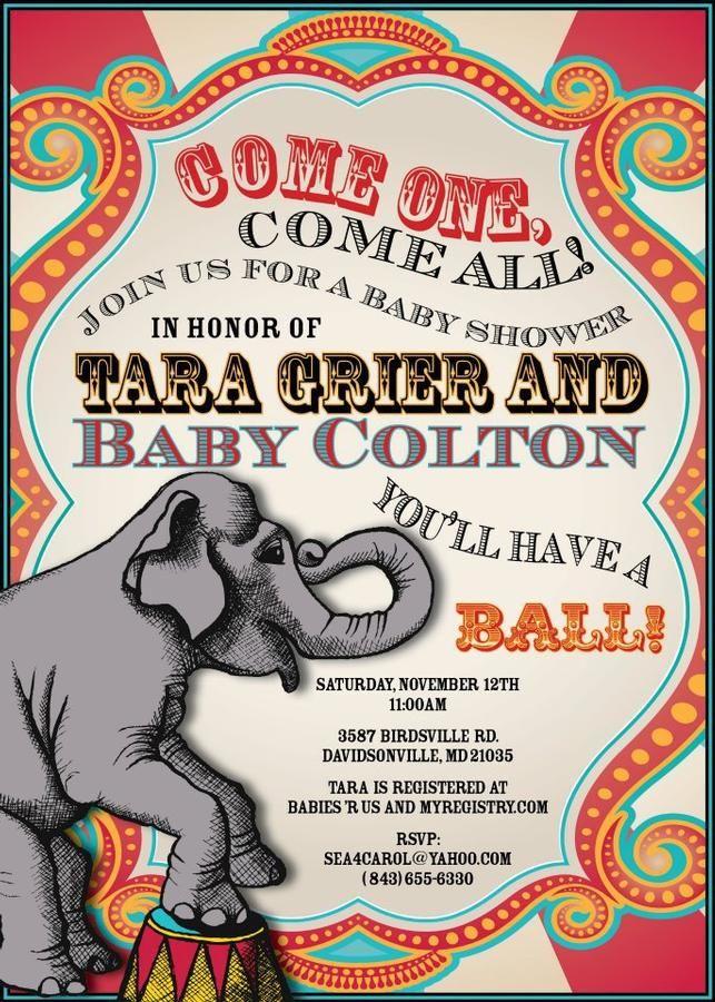 Circus Themed Baby Shower Invite Theme Circus Baby Shower