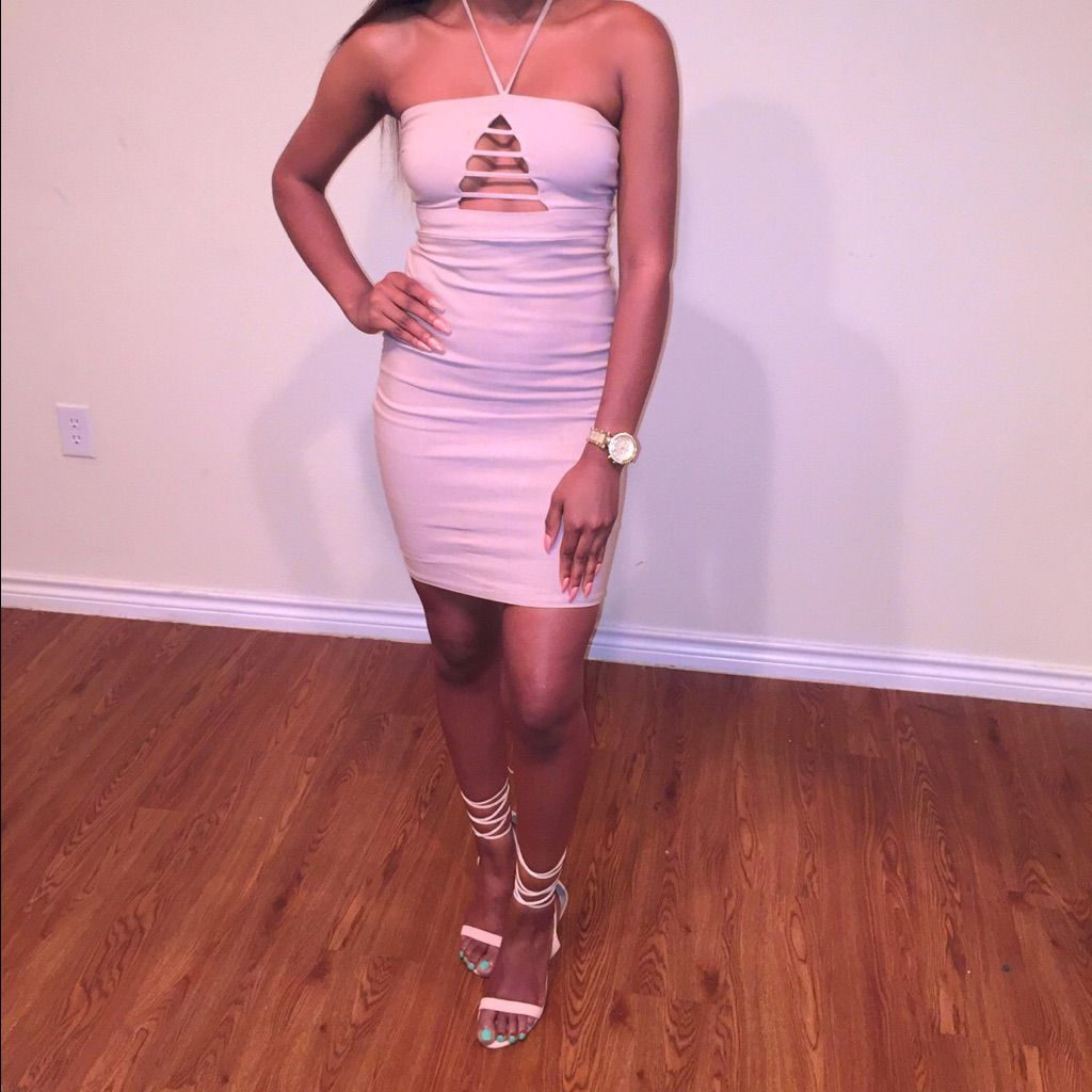 Tan Fitted Night Out Dress
