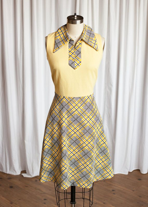 ffaf5ddf48 Another Chance dress | vintage 60s dress | yellow double knit skater dress  | vintage yellow plaid 1960s dress | Sherie Kay | 60s mini dress