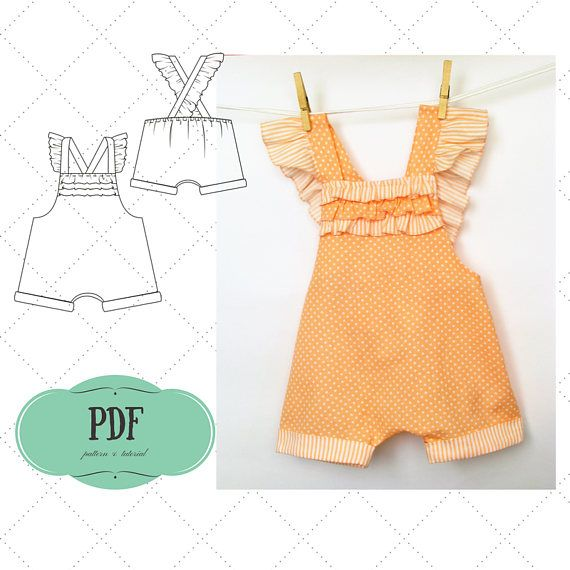 Baby Playsuit Pattern, Baby Romper pattern, Sunsuit for girl pattern ...