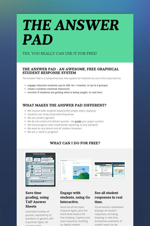 THE ANSWER PAD- What can I do for free? tech Pinterest The o