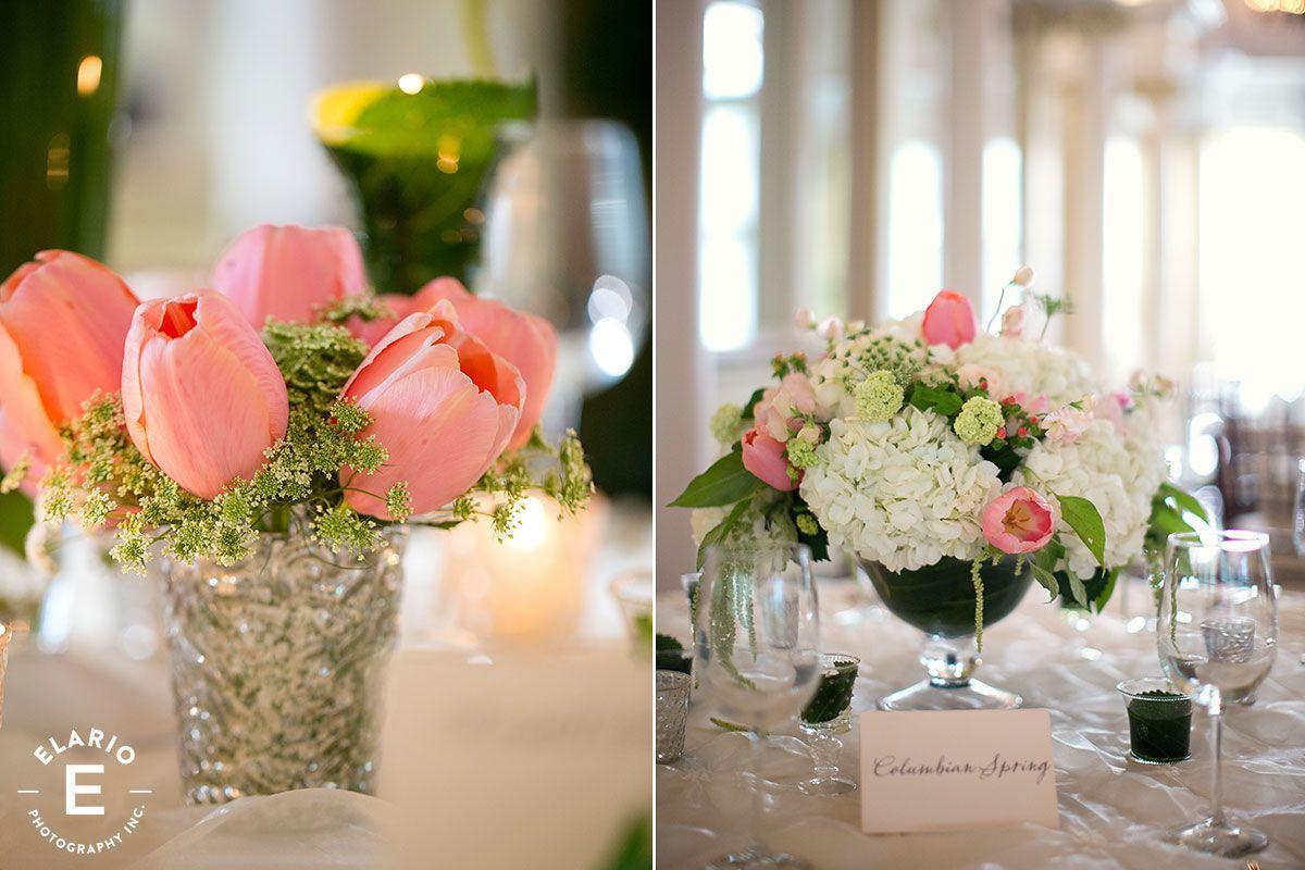 Pink tulip and white hydrangea wedding centerpiece