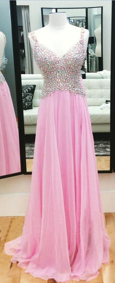 V-Neck Prom Dress Pink Rhinestone Prom Dress Popular Prom Dress Backless Prom Dress Evening Dress 2015 Unique Prom Dress