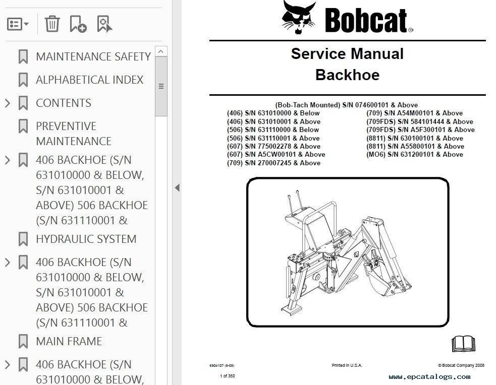 Bobcat 406 To 709  8811  Mo6 Backhoe Attachment Service Repair Manual Pdf