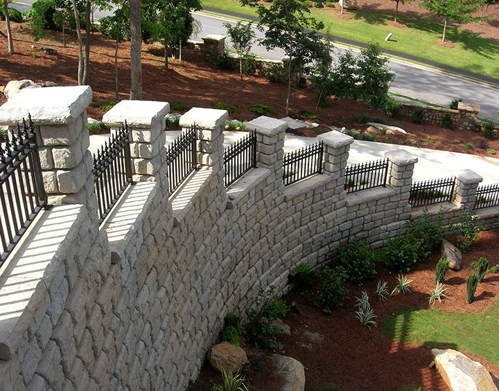 Wrought Iron Fence On Top Of Block Wall Google Search Retaining Wall Home Landscaping Modern Fence