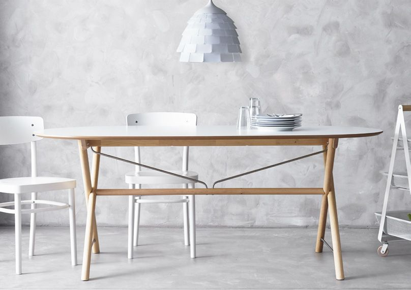 Ikea Salon Tafel Wit.Slahult Tafel Wit Berken Dalshult Wit Berken Diy Dining