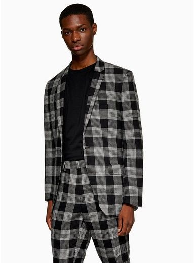 61983bb5fa33 Black White Check Slim Blazer in 2019 | Products | Black, white man ...