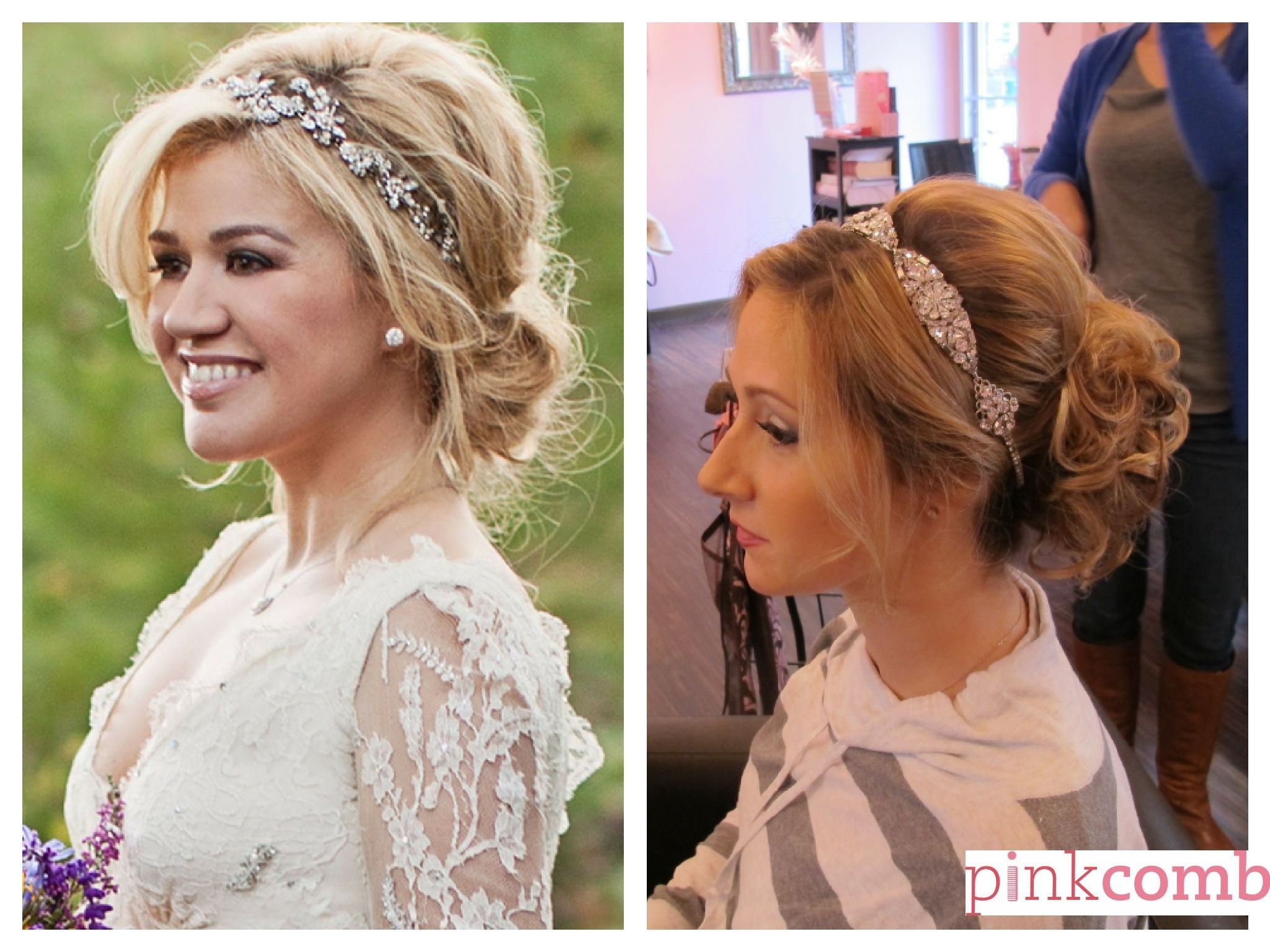 kelly clarkson inspired loose blonde updo with curls ad headband