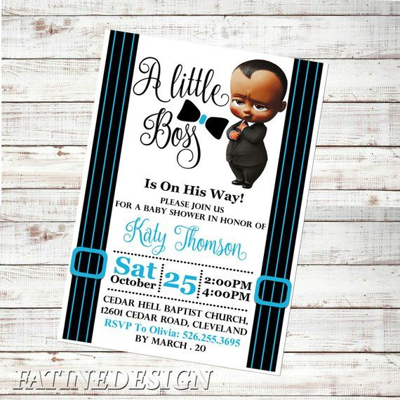 Boss Baby Baby Shower Invitation African American Boss Baby