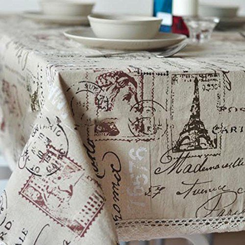 Vintage Eiffel Tower Cotton Linen Decorative Tablecloth Dinner Kitchen Table Top Cover (55x86inch(140x220cm))