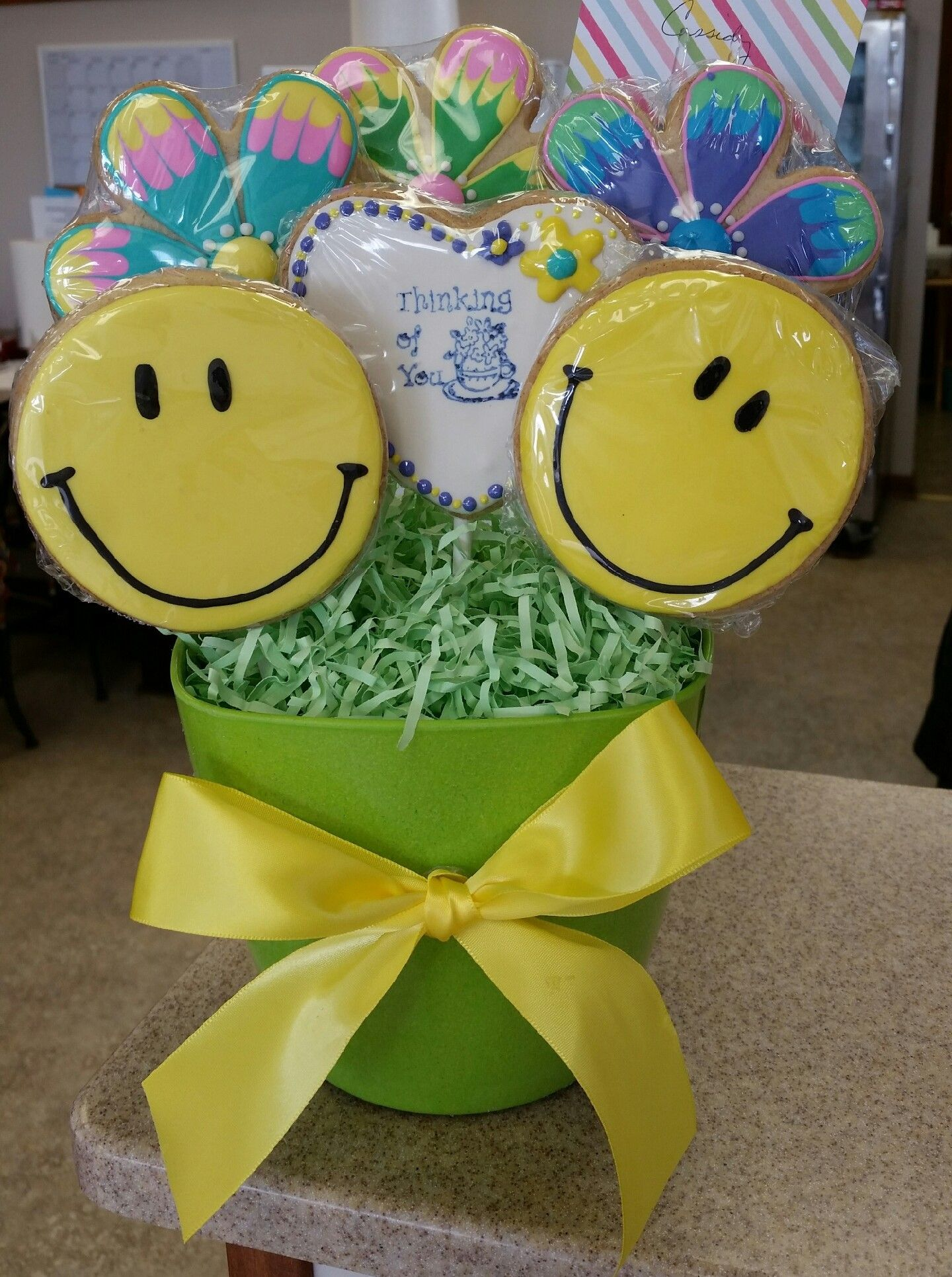 Smiley faces and flowers cookie bouquet by crystalscookiesandsweets smiley faces and flowers cookie bouquet by crystalscookiesandsweets izmirmasajfo