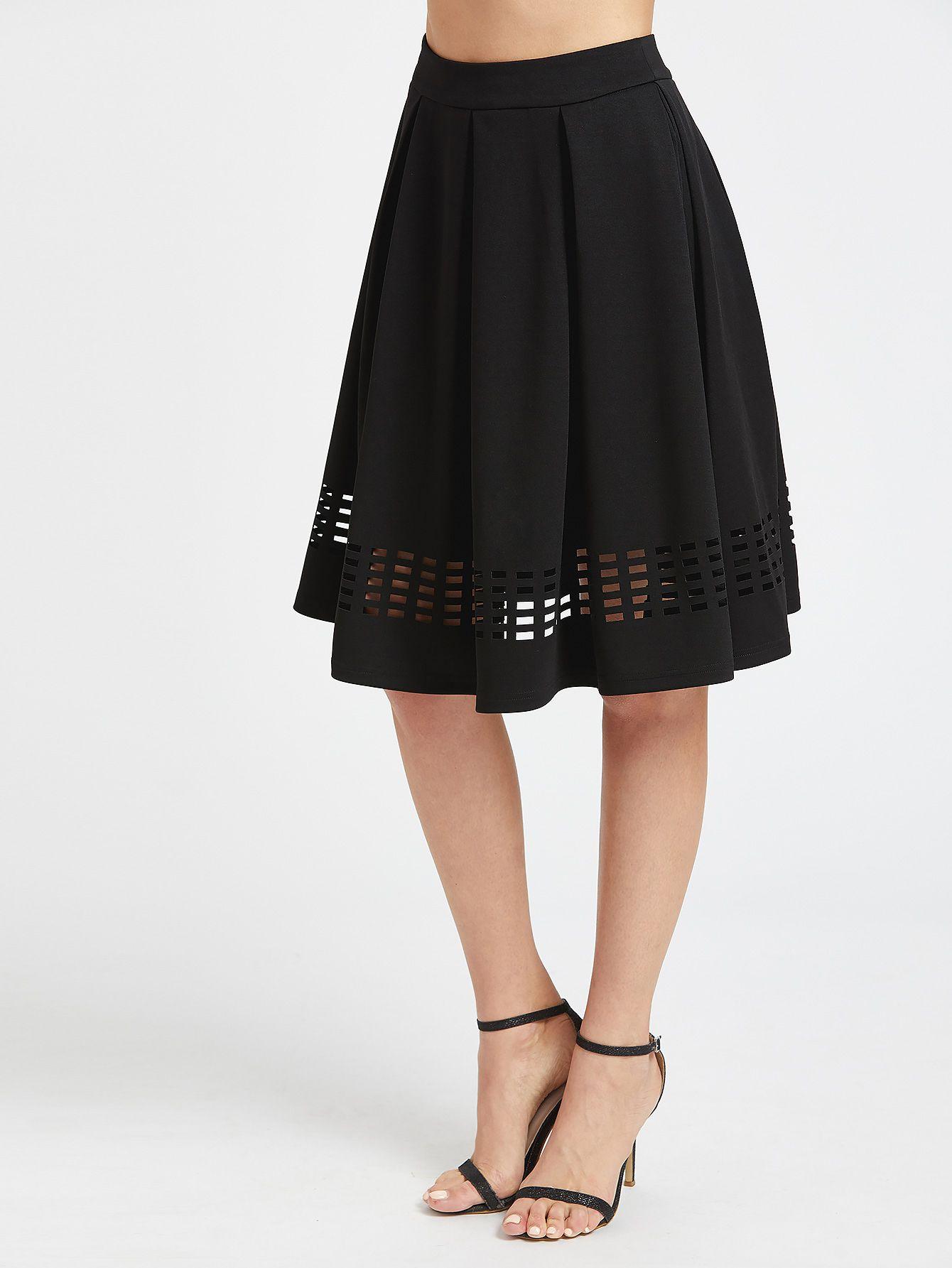 ab9e0a82c1 Shop Laser Cutout Hem Box Pleated Skirt online. SheIn offers Laser Cutout  Hem Box Pleated