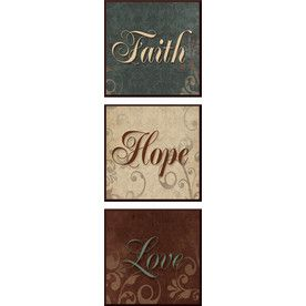 6 X 18 Faith Hope Love Plaques Framed Wall Art Home Pinterest