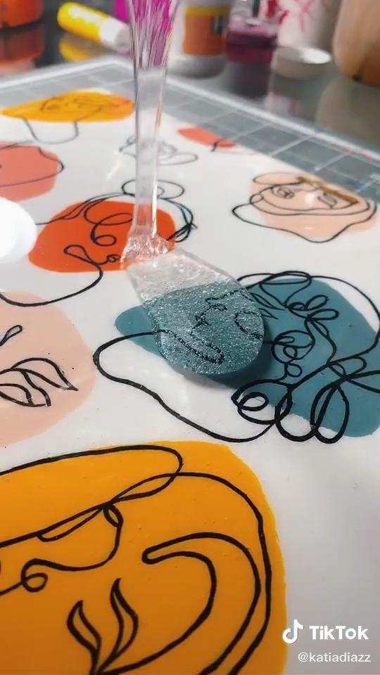 Macbook acrylic paint line art case