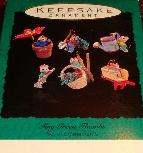 "1996 Hallmark Keepsake ""TINY GREEN THUMBS"" Miniature Ornament 6 pc Set - MINT"