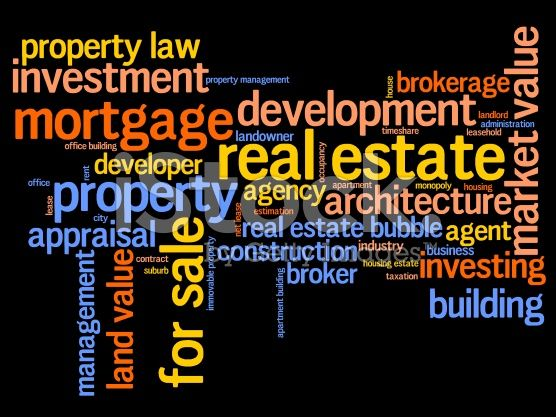 Real estate investment and trading word cloud illustration. Word ...