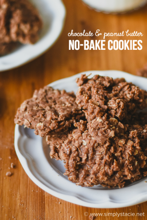 Chocolate and Peanut Butter No-Bake Cookies - Rich, chewy and easy to make! Make these cookies once and you'll never forget the recipe.