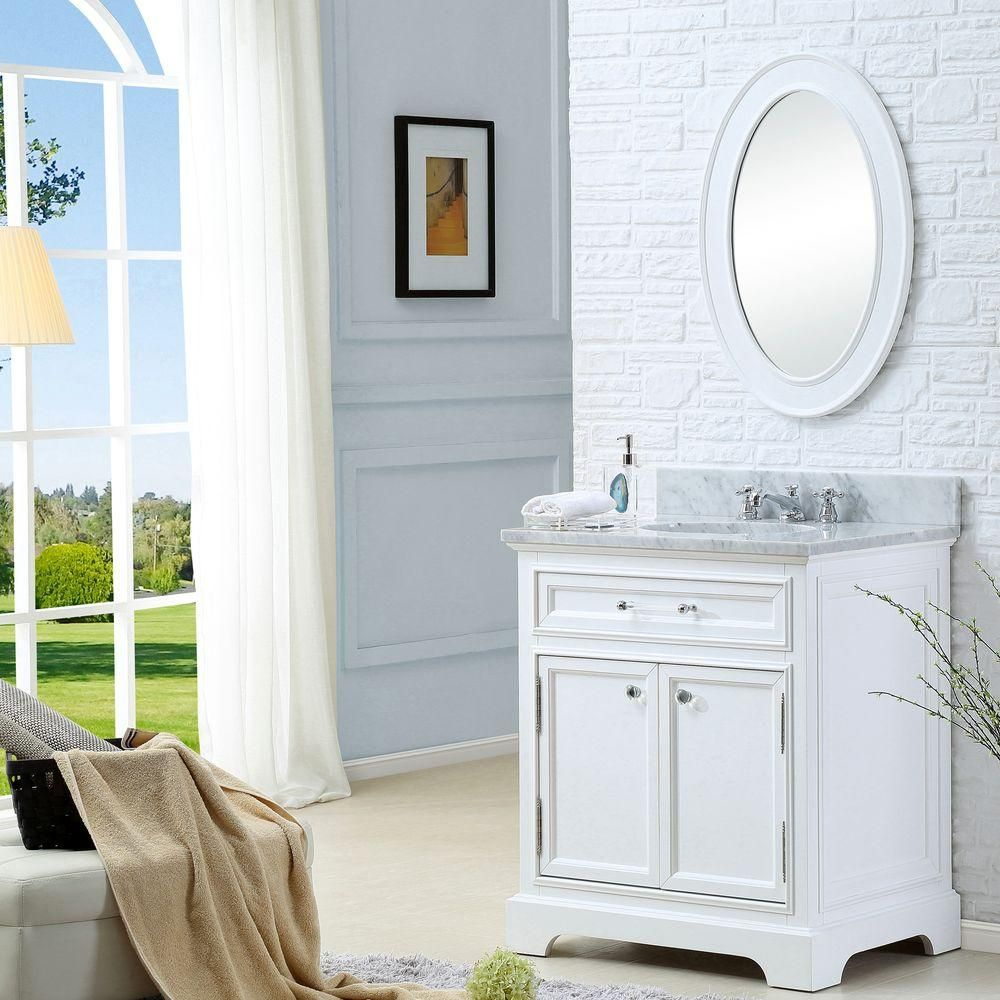 Water Creation 24 In W X 22 In D X 34 In H Bath Vanity In White With Marble Vanity Top In Carrara White With White Basin Derby 24w The Home Depot