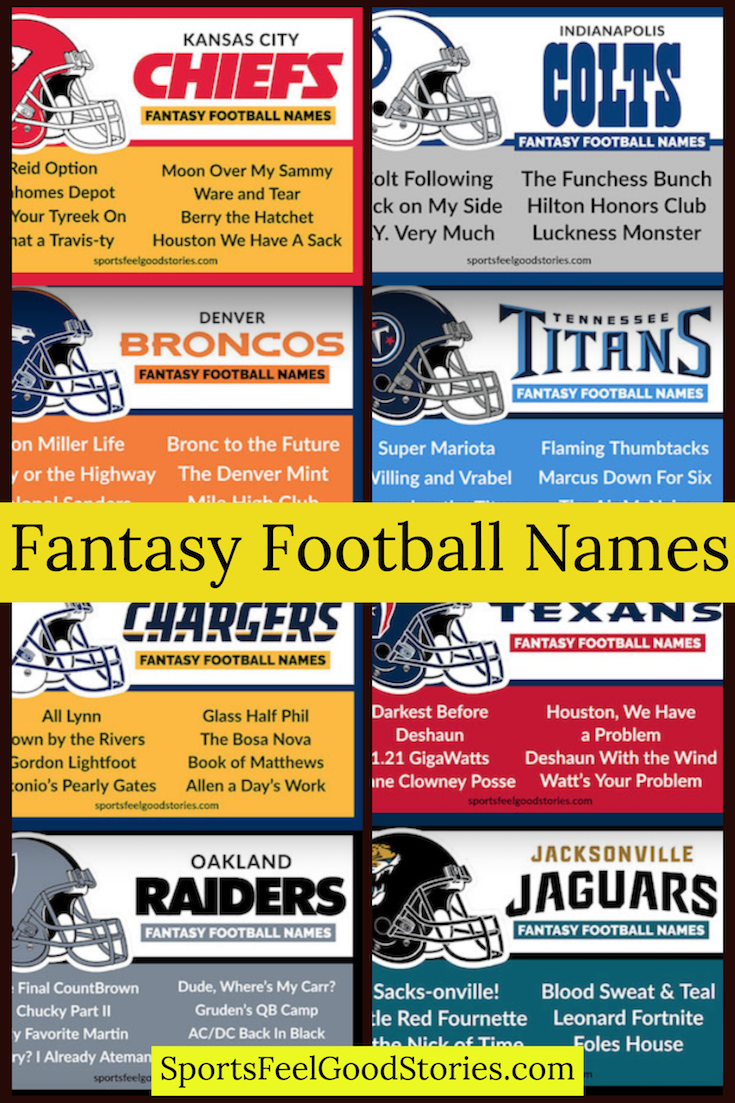 Best Fantasy Football Names Sorted By Team Sports Feel Good Stories Cool Fantasy Football Names Football Team Names Fantasy Football Names