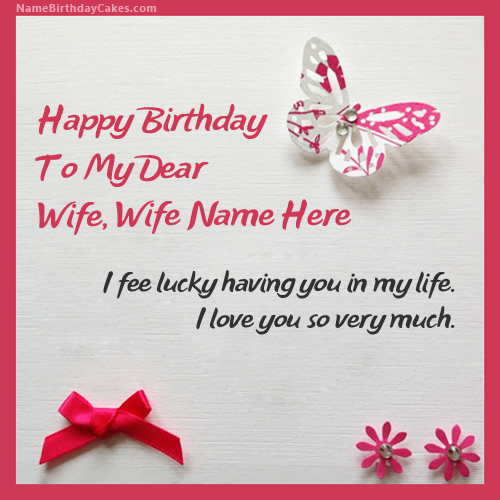Write name on Butterflies Birthday Card for Wife Happy Birthday – Birthday Greeting Cards with Name