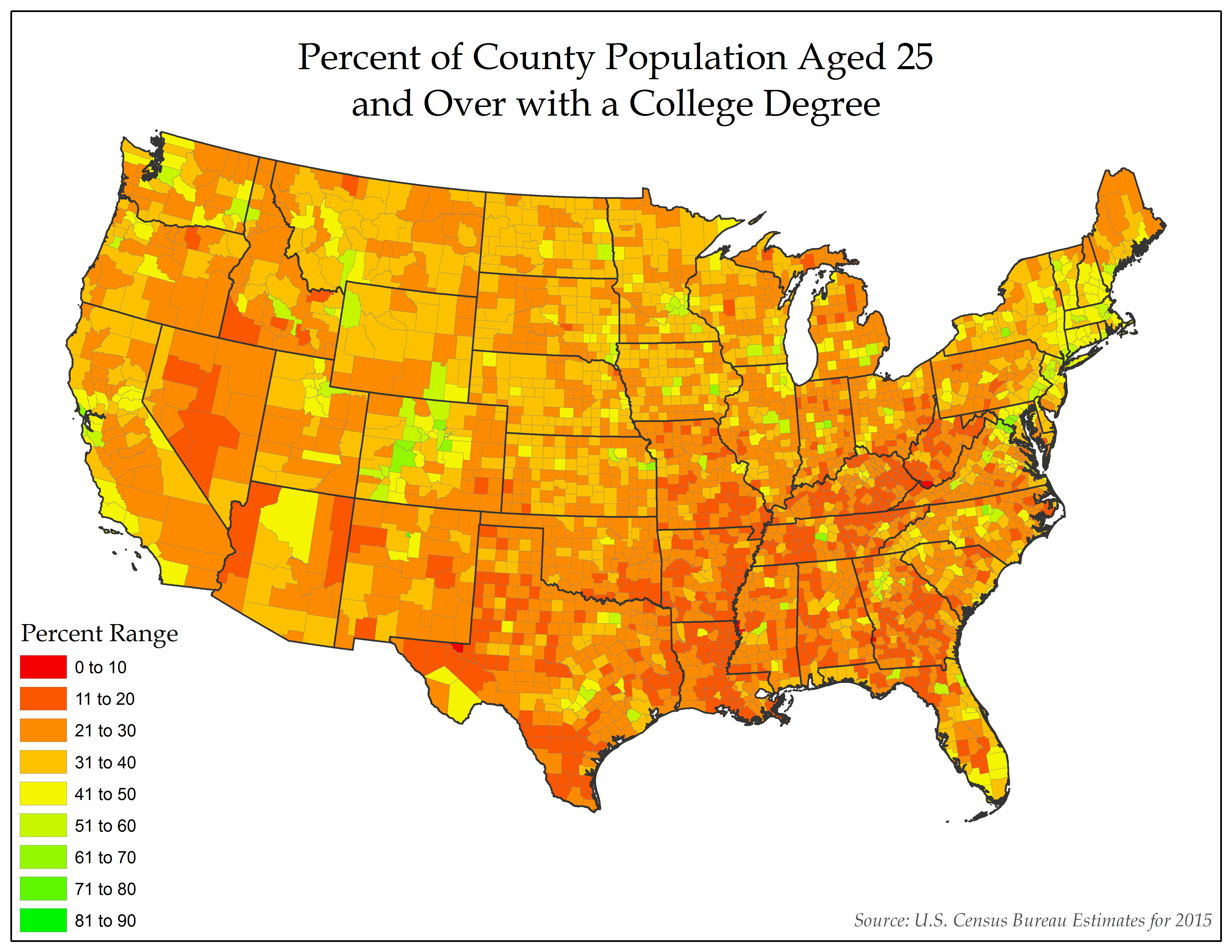 Percent Of County Population Aged 25 And Over In The United States With A College Degree College Degree Map The Unit