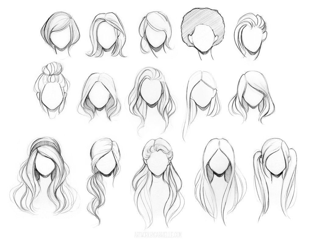 Female Hairstyles Drawing  Sketches, How to draw hair, Hair sketch