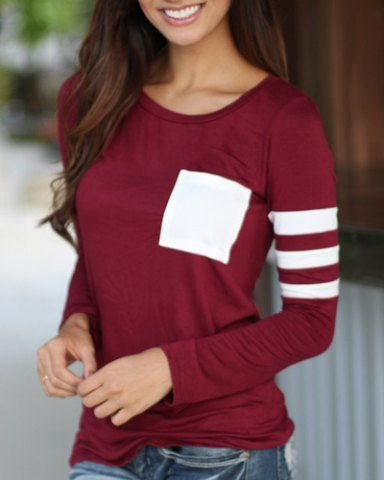 Simple Style Scoop Neck Color Block Printed T-Shirt For Women