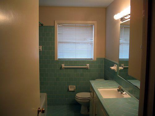 blue mid century bathroom - Midcentury Bathroom 2015