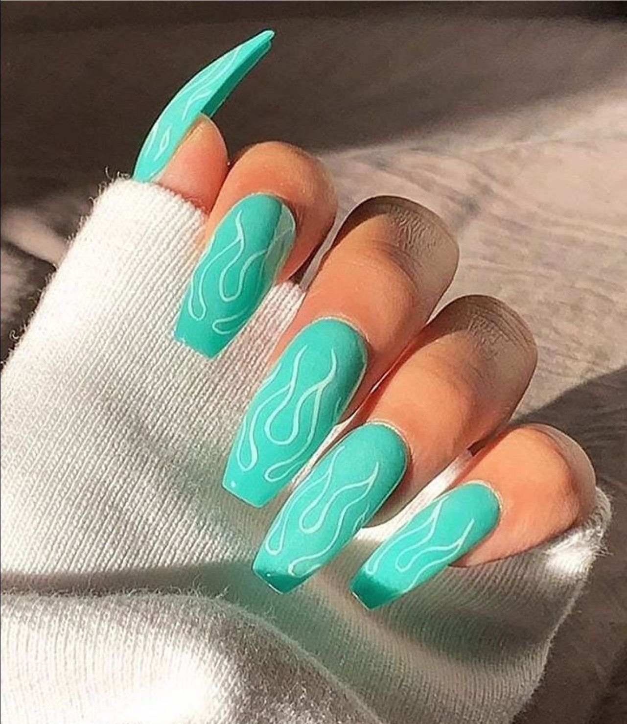 Teal Coffin Nails With Simple White Fire Design Pinterest Cassiebryan99 Coffin Nails Designs Pretty Gel Nails Nail Designs Summer