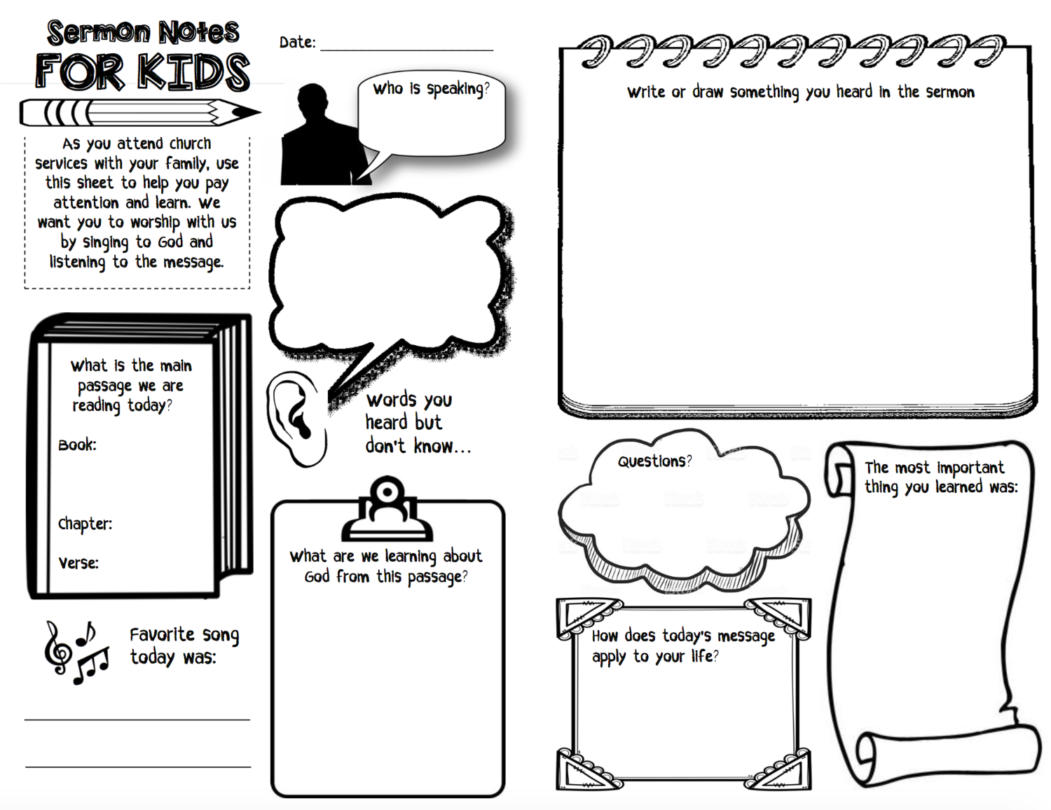 Church Bulletin And Sermon Notes For Kids
