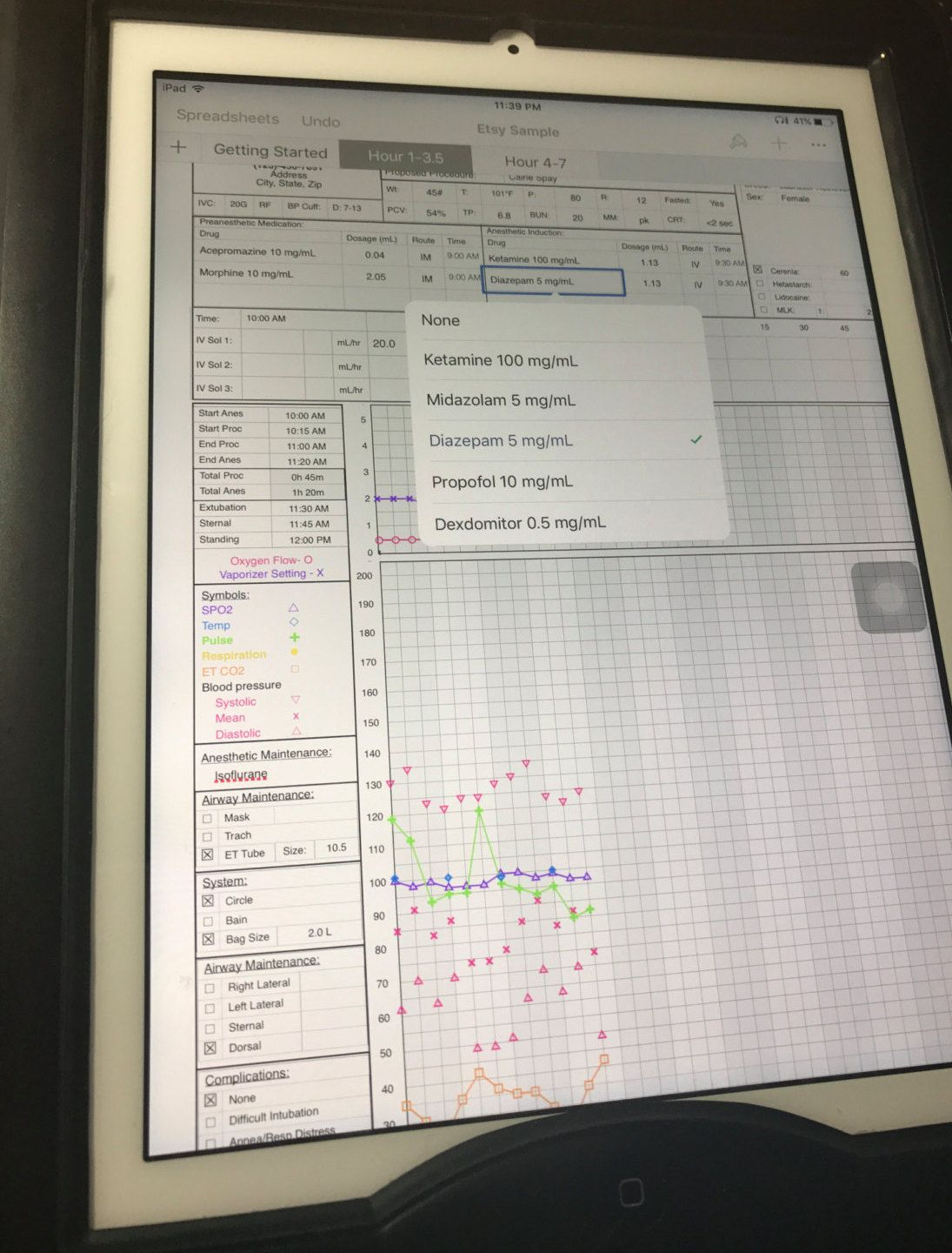Digital Anesthetic Record Being Used On An IPad During Surgery Using The Numbers App Template Chart Veterinarian Anesthesiologist Doctor Medicine