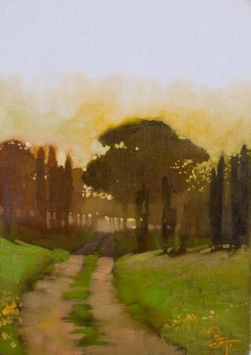 Bernard 'Bernie' Fuchs  (American 1932 - 2009) - Road in Italy