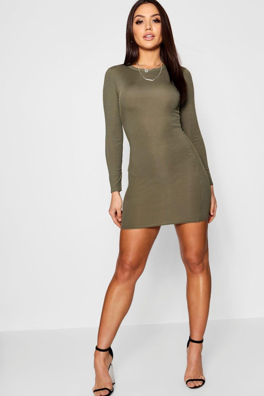 Womens Ribbed Basic Long Sleeve Bodycon Dress Bodycon Dress Bodycon Fashion Long Sleeve Bodycon [ 1500 x 1000 Pixel ]