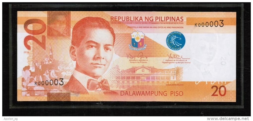 Philippines Philippinen 20 Piso 2010 Unc Extremely Low Serial