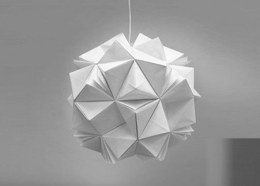 led lamp, paper lamp, led paper lamp, paper lanter, jiangmei wu, tacit design, folded lamps, folded light art, folded light, origami lamp, o...
